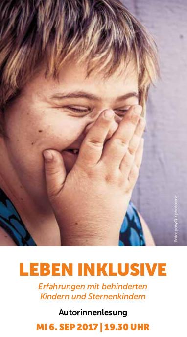 oben: Lachendes Mädchen mit Downsyndrom, unten: Infos zur Veranstaltung